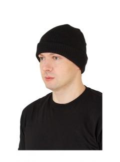 Шапка ПШ, черная, вязанная двойная