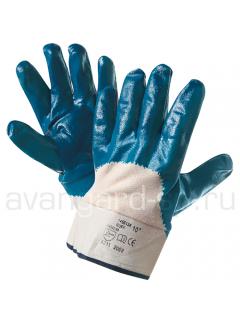 Перчатки нитриловые полуобливные с твердым манжетом (аналог HYCRON)